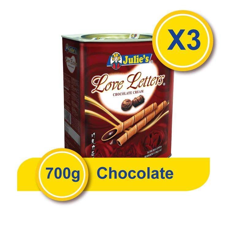 Julie's Love Letters Chocolate (700g x 3 Tins) + Free 5 pack Convi pack Biscuit