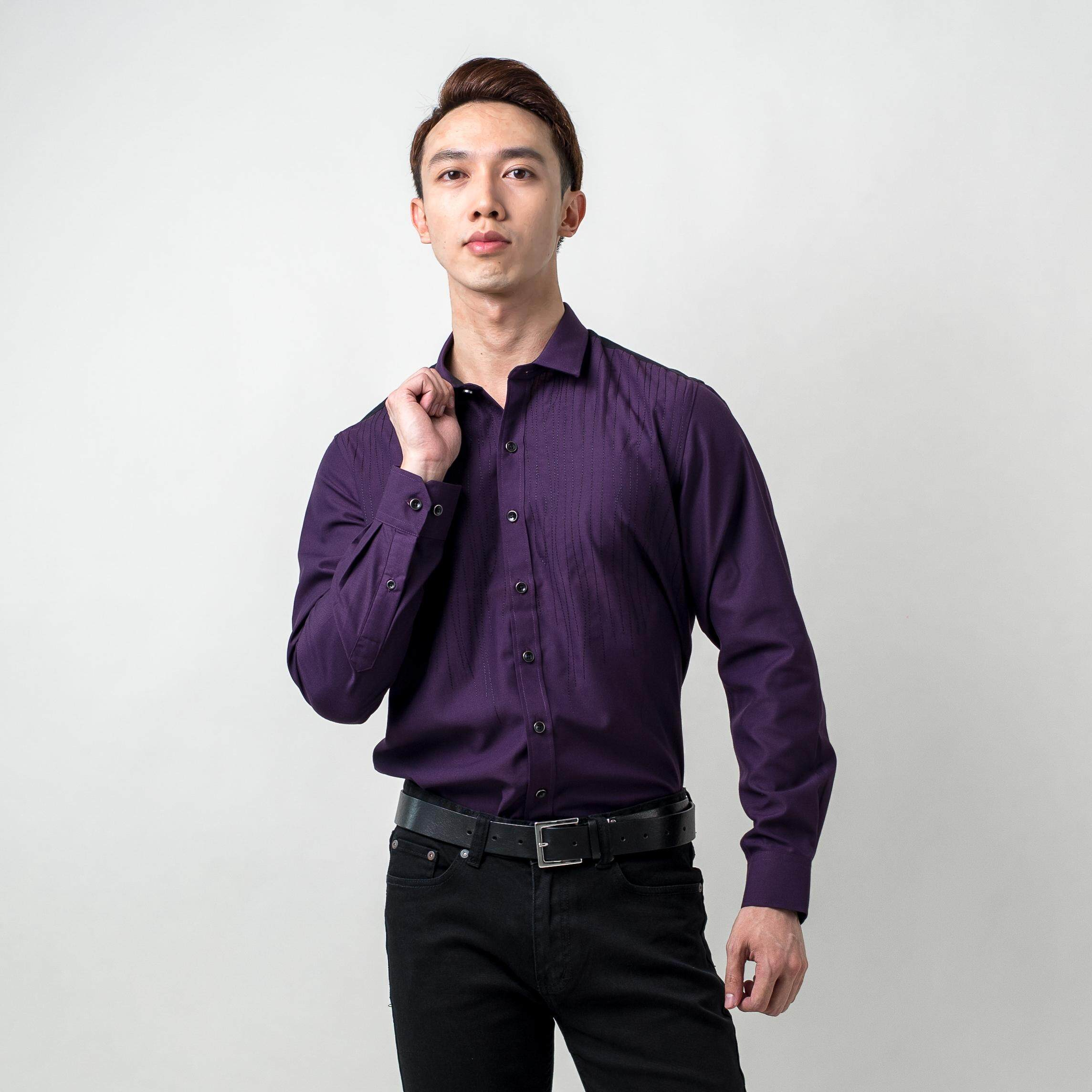 MEN'S LONG SLEEVE SHIRT - SMART LOOK + BODY EMBROIDERY DETAILING + CUT&SEW ON THE BACK B79-40429#2