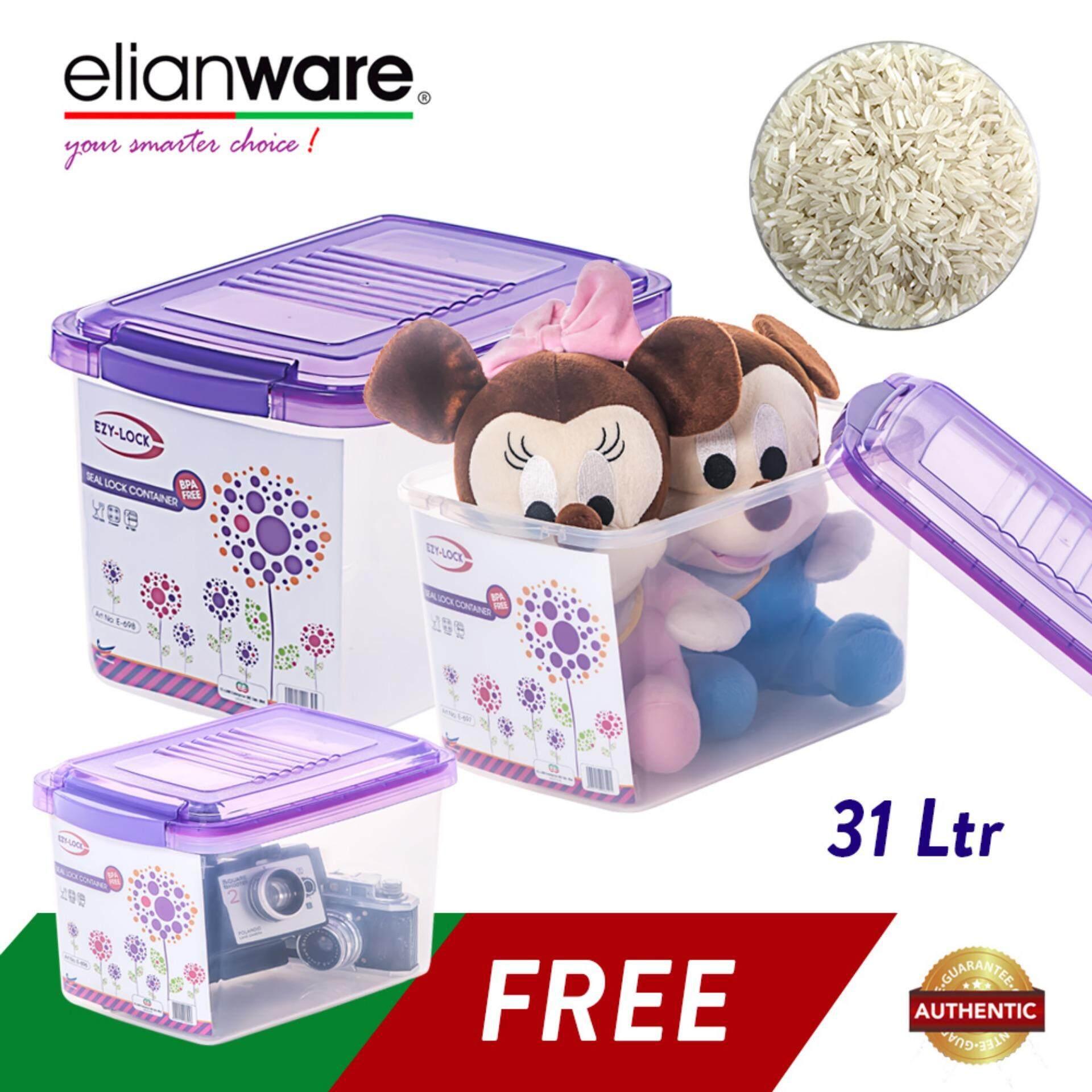 Elianware 3 Pcs Ezy-Lock 100% Airtight Seal Lock Container Kitchen Rice Food Storage
