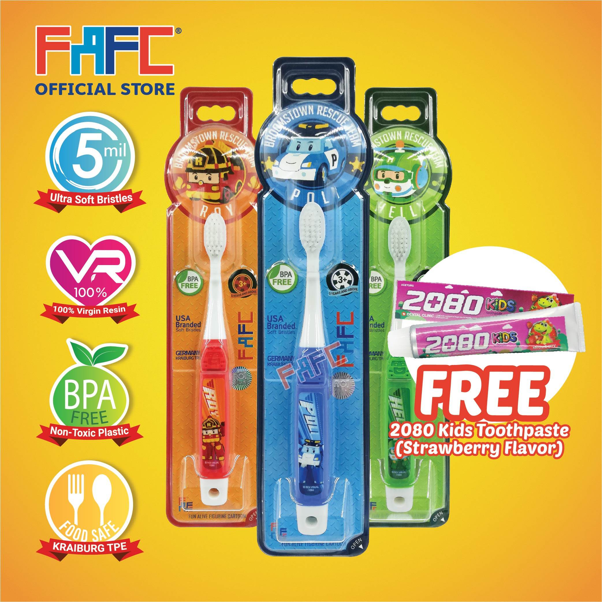 POLI ROY HELLY - (3 Pcs) FAFC Robocar Poli Hook Kids Toothbrush FREE 2080 Kids Toothpaste (Strawberry Flavor)