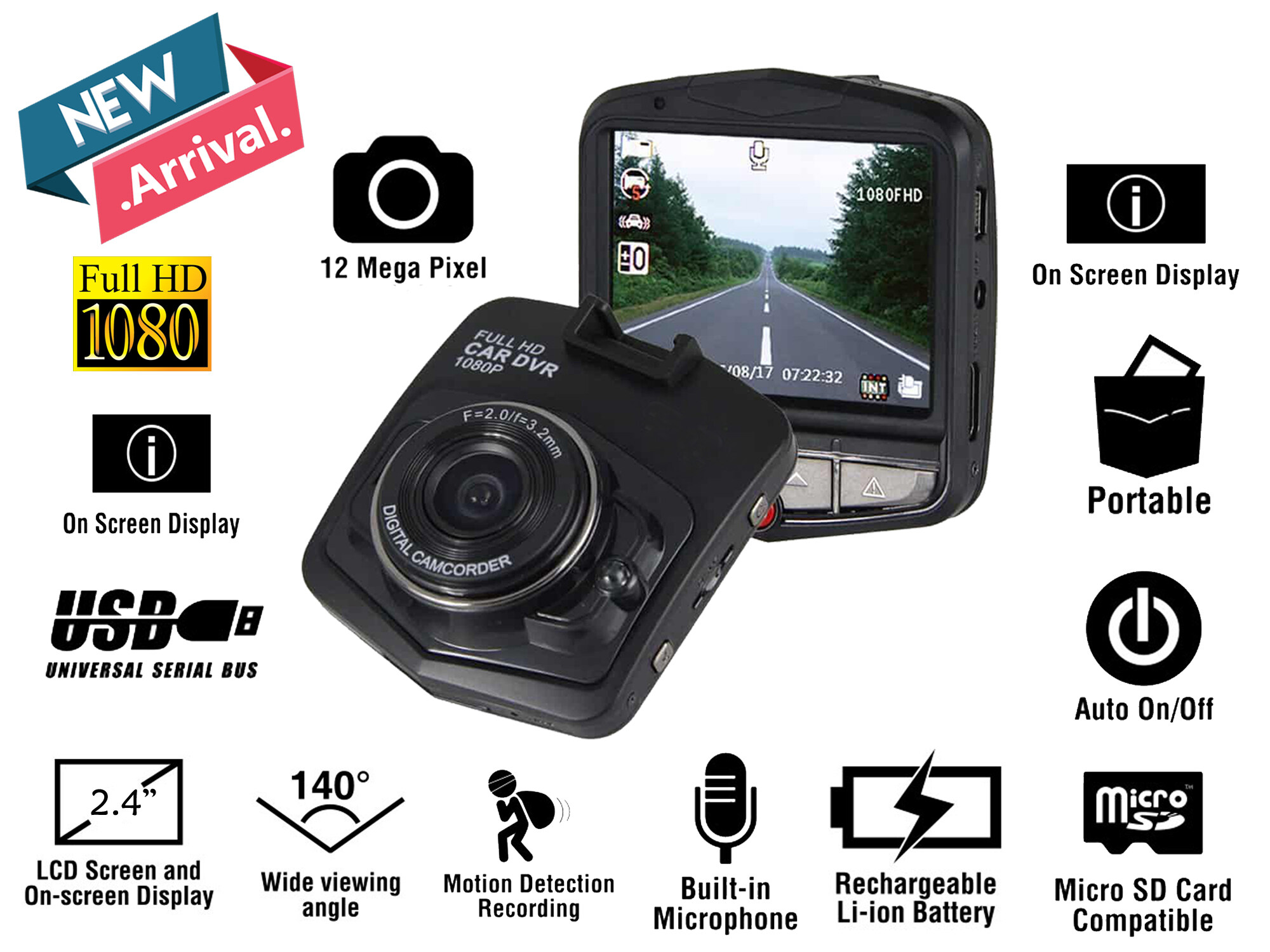 Vehicle Blackbox 2.4 LCD Car Camera Full HD 1080P FHD Dashcam DVR Black Box Dash Cam Video Recorder G-sensor Motion Detection Night Vision Loop Recording Function