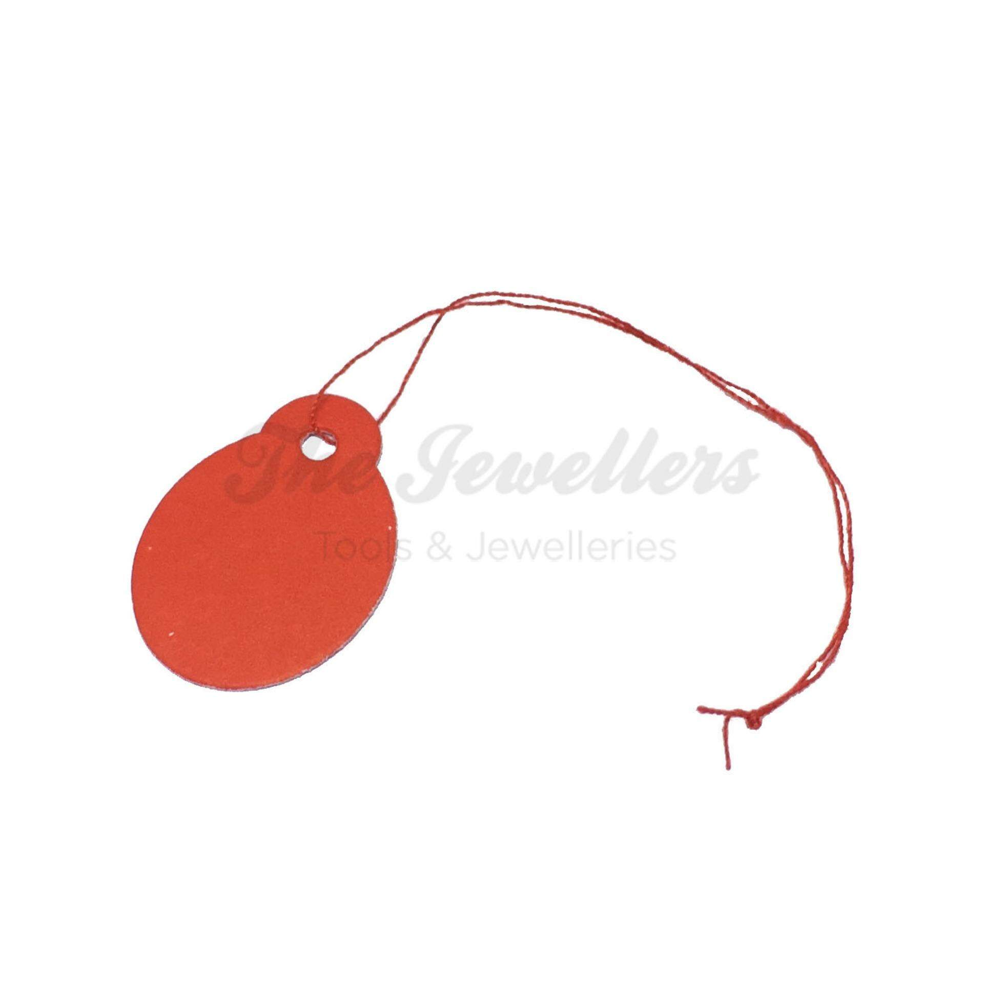 450+-pcs Oval Shape Red Colour Jewellery Price Tag with Thin Red Thread
