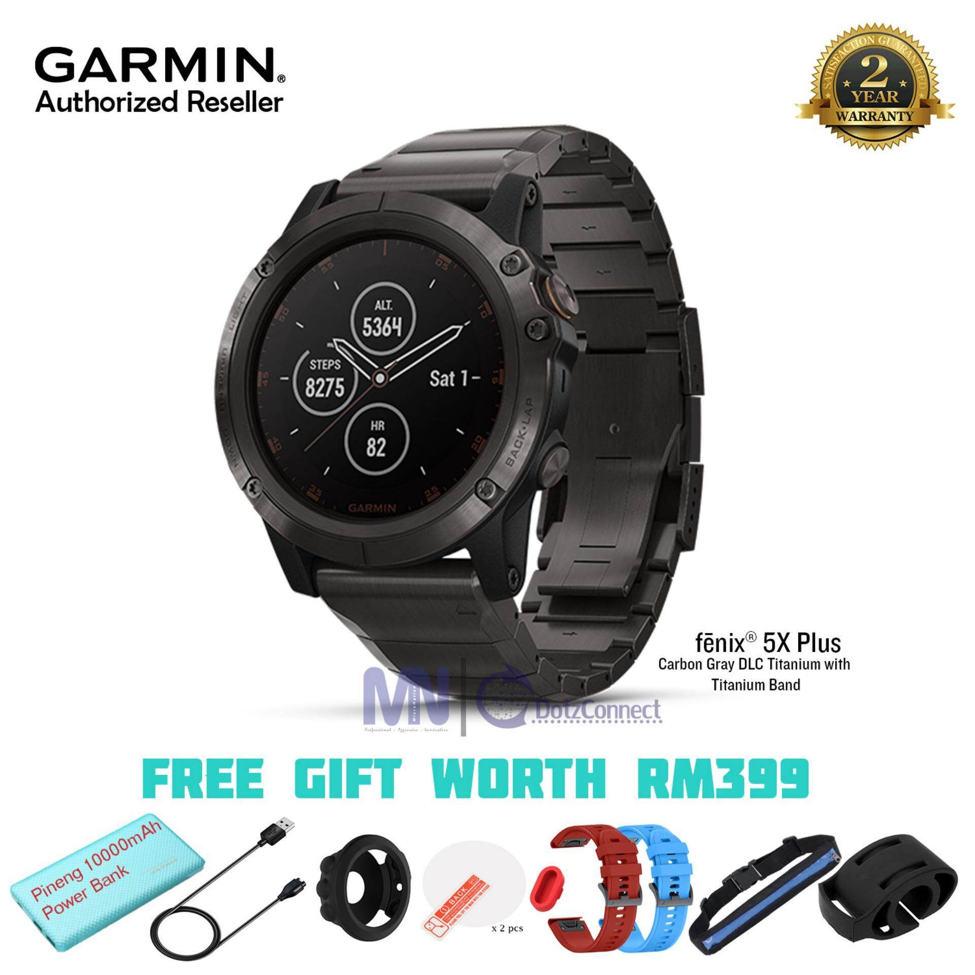 Garmin Fenix 5X Plus Gray DLC Titanium with Titanium Band Multisport GPS Watch With Maps, Music