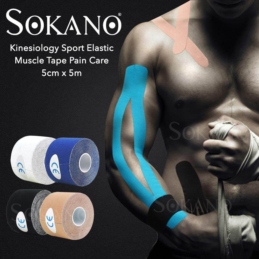 SOKANO Kinesiology Sport Elastic Tape Physio Strapping Muscle Tape Pain Care 5cm x 5m