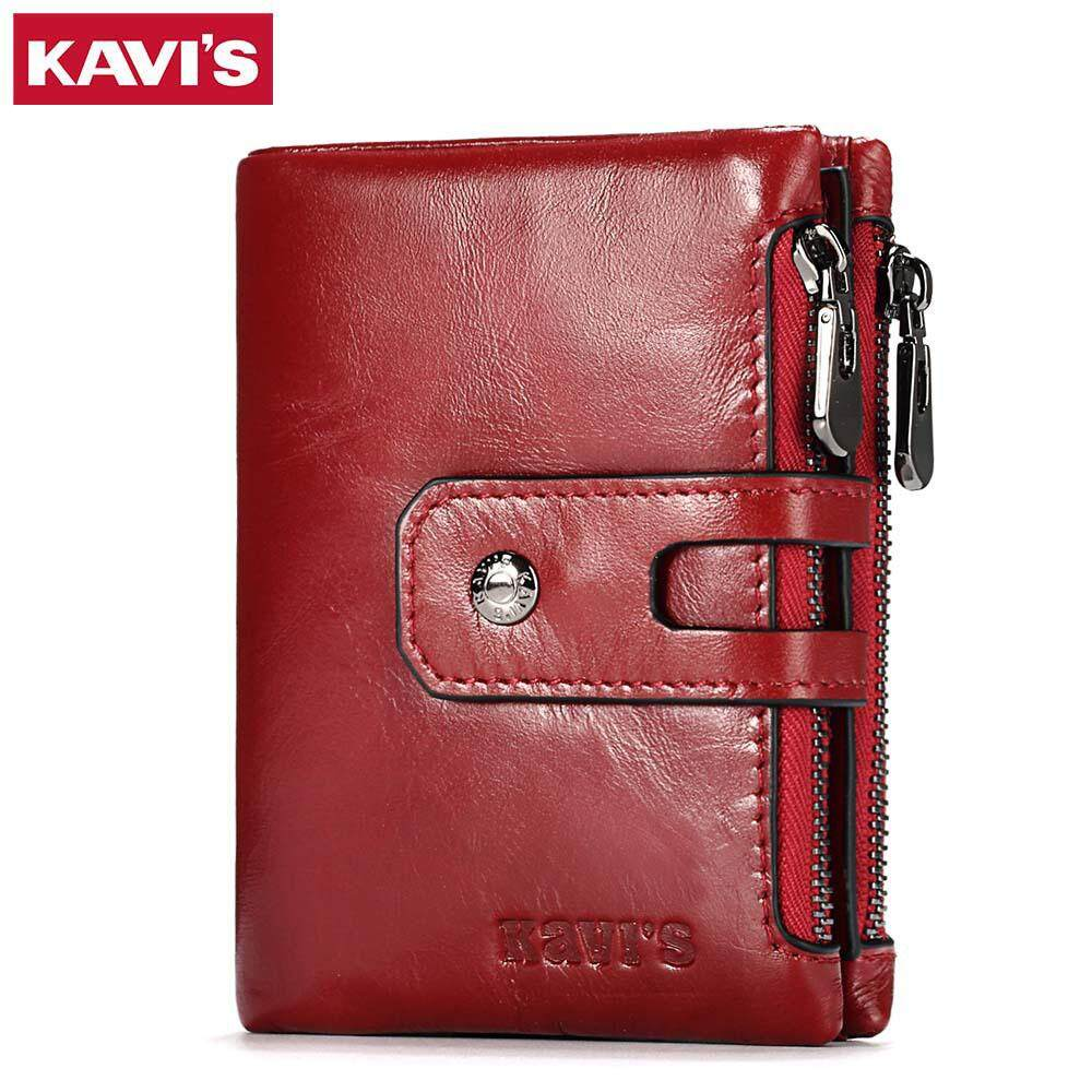 KAVIS Genuine Cowhide Leather Men Wallet Italy Coin Small Mini Purse RFID Blocking Zipper MI4052