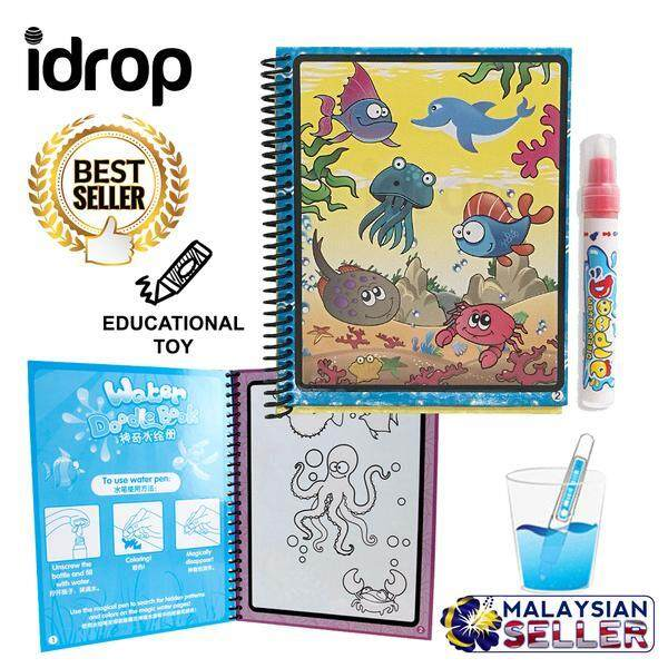 idrop Sea Aquatic Animal Magic Water Coloring Book And Pen Educational Toy -