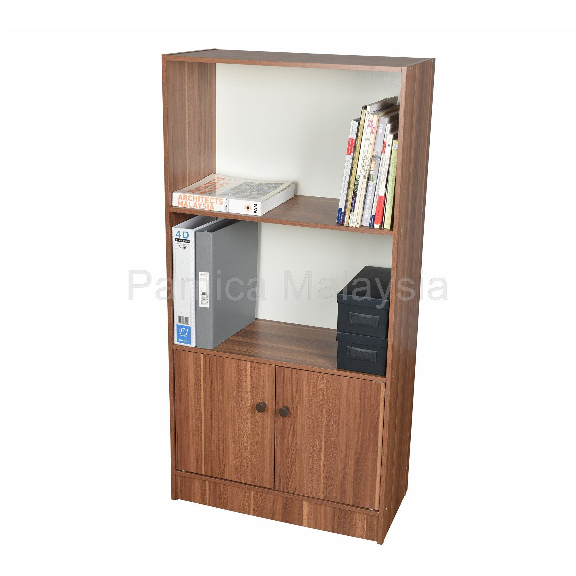 PAMICA SV6122 Roman 3 Tier Book Shelf with Door in Teak/Ivory Finished