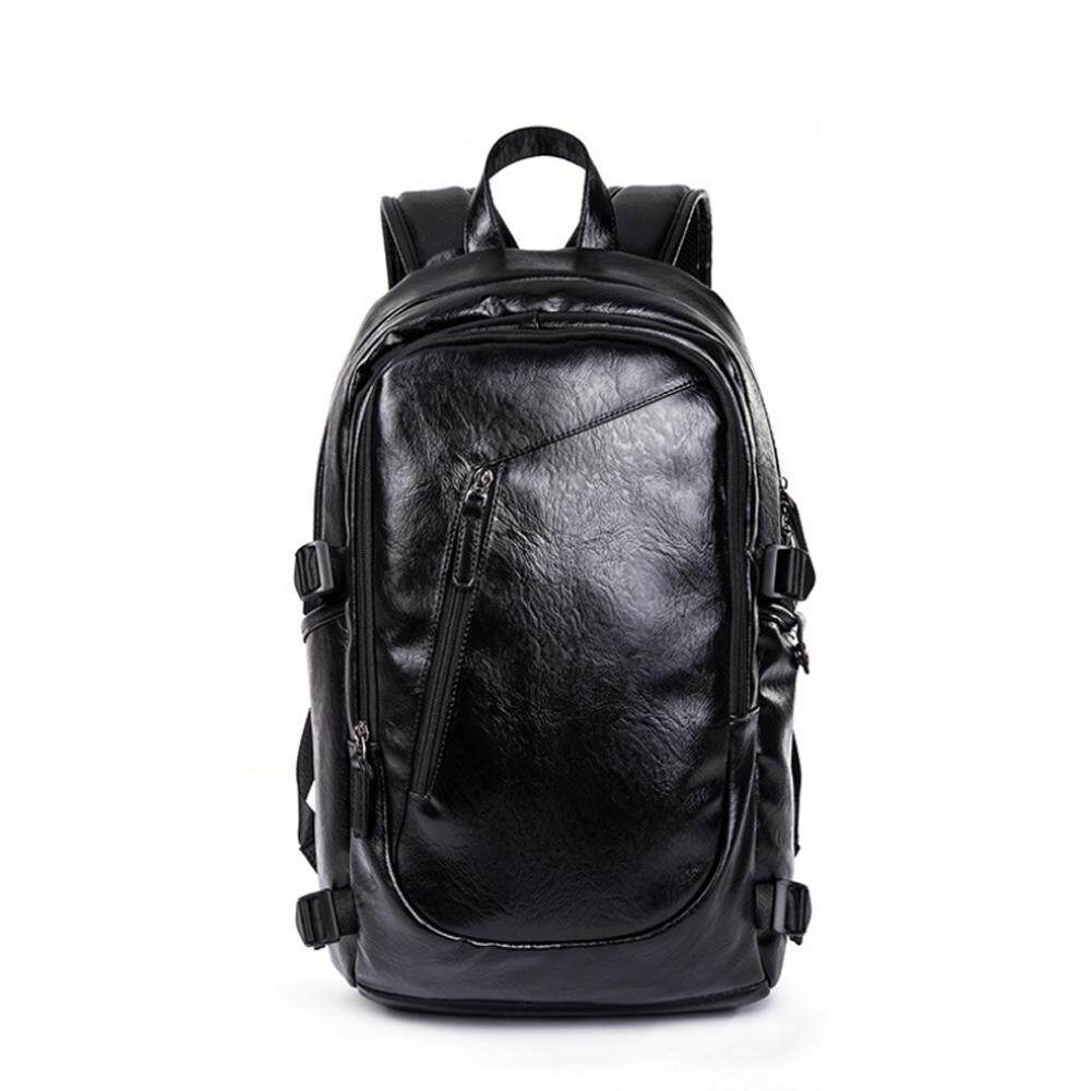 Men Leather Backpack Laptop Bag Light Weight Smooth Waterproof Casual Travel Black Bag 334 MI3341