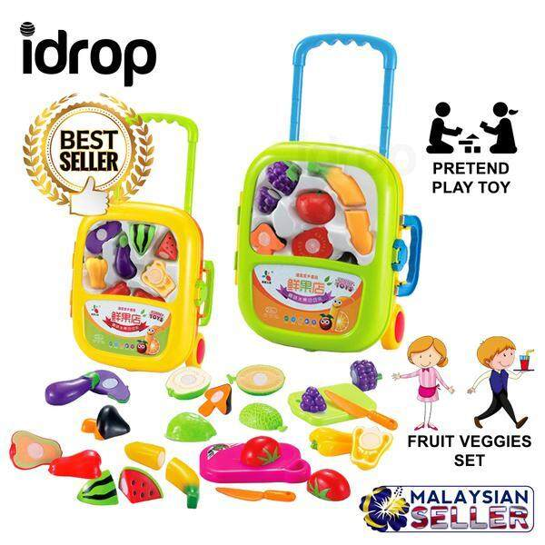 idrop Cutting Fruit Vegetable Veggies Toys Pretend Play Toy Set With Trolley For Kids Children -