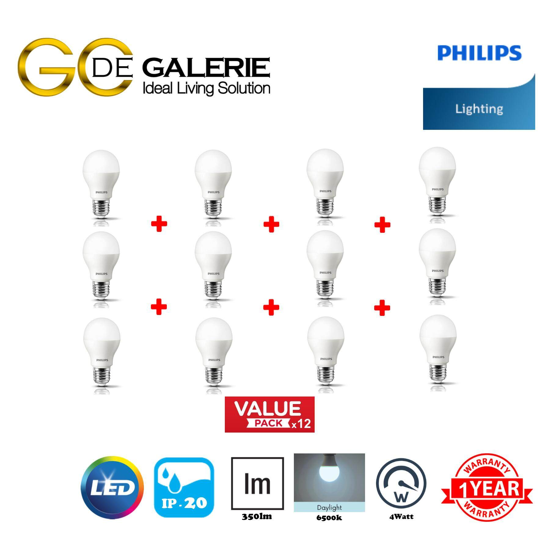BULB LED PHILIPS 4-40W E27 6500K (GEN3) (12 PACK)