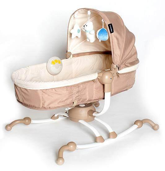 Akarana Baby Koa Swivel Rocker Bassinet (Creamy Brown) FREE Soft Toys, Sensory Soother