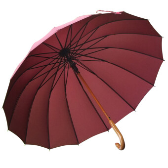 115 cm extra-large bone wood in stick rain or shine umbrella long-handled umbrella (Maroon) (Maroon)