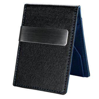 2017 C1S New Fashion Korean Style High Quality Men Mini MoneyWallet With Clip (Blue)