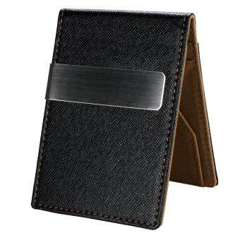 2017 C1S New Fashion Korean Style High Quality Men Mini MoneyWallet With Clip (Coffee)