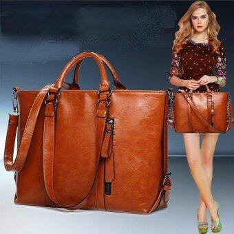 2017 Fashion PU Tote Women Leather Handbags Messenger Shoulder Bags (Brown)