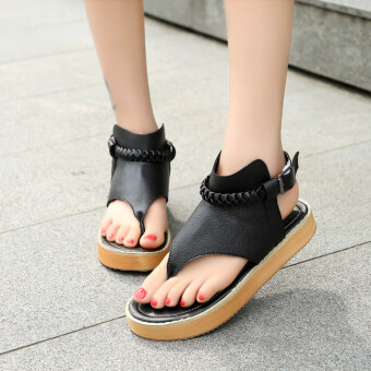 2017 summer New style fashion sandals clip toe shoes sandals flat sandals flip sandals Korean-style student shoes tide (Black)