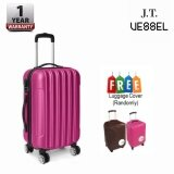 """J.T VESSEL: 1 Year Warranty Durable 24"""" Stripe Travel Luggage Dark Pink with Free Luggage Cover"""