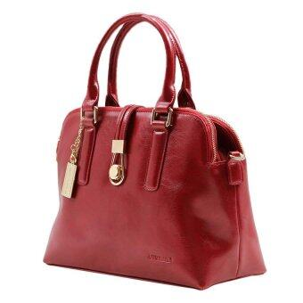 Alfio Raldo LB-50614 Drawstring Top-Handle Bag Maroon Leather