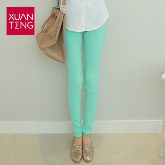 -And autumn high-waisted outerwear skinny pants leggings (Sky blue color)