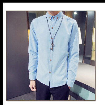 Autumn men's long-sleeved shirt Slim fit handsome thin section Korean-style boys bottoming shirt clothes Stylish student Teenager (Sky blue color)
