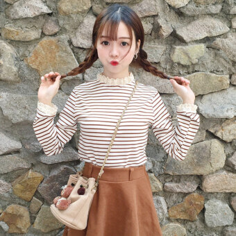 Autumn Women's 2017 New style Korean-style sweet lace small collar Slim fit long-