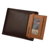 Bogesi 721-1 Premium Leather Men Short Horizontal Wallet- Brown