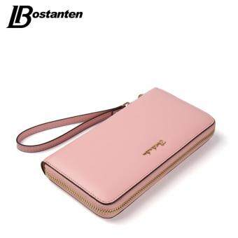 BOSTANTEN Cow Genuine Leather Women Wallet Wristlet Long Zipper Female Purse Luxury Brand Coin Purse Clutch Designer Money Bag