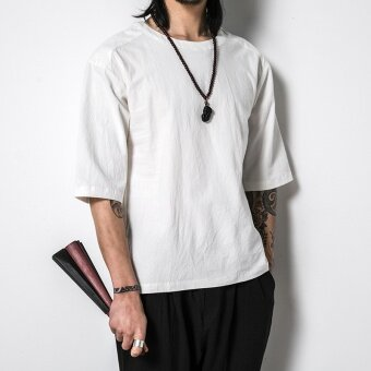Chinese-style National linen Short sleeve short sleeved t-shirt half sleeved (White)