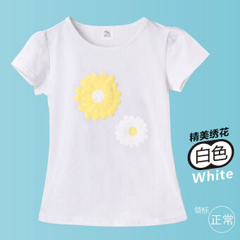Cotton white short sleeved children's Top T-shirt (White T embroidered) (White T embroidered)