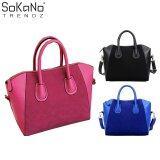Elegant Top Handle Suede Leather Handbag Pink
