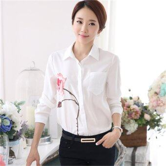 Fashion Casual OL Elegant Women Summer Tops Long Sleeve LapelCollar Floral Print Chiffon Shirt Blouse