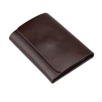 Fashion Men Money Clip Wallet Genuine Leather Short Card Holder Trifold Magnet Business Mini Wallet Coffee/Brown