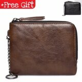 Fashion Men Premium Casual Trendy Genuine Leather Zip Wallet CardHolder with Coin Slot 149 (Color: Brown) MI1492