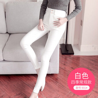 Female outerwear autumn and winter stretch high-waisted pencil pants leggings (801 white Four Seasons General)