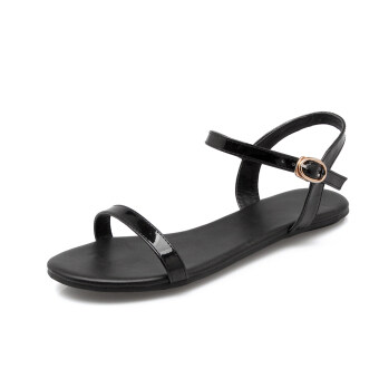 Flat sandals Female Summer 2017 New style simple wild a word withKorean-style student gel toe non-slip fashion patent leather tide(Black a word)