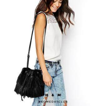 H&M Faux Leather Black Fringed Shoulder Bag Tassel BucketCrossbody Bag (Black)