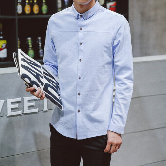 Han Banchun cotton men's Slim fit base shirt long-sleeved shirt (Fresh water blue)