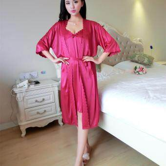 HIBAY Women Sexy Satin Pajamas Nightgown Lounge wear Robes SetsWatermelon Red Color