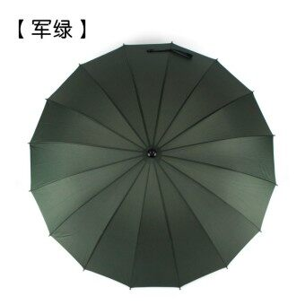 Huge Wind-Proof 24-Bone Straight Colorful Outdoor Umbrella (16 straight shank bone dark green)