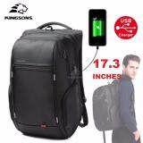 KINGSONS KS3140W 17.3 inches City Elite Bag Designer Laptop Backpack Water-Resistant Anti-Theft Laptop Rucksack with USB Charging Port - Black