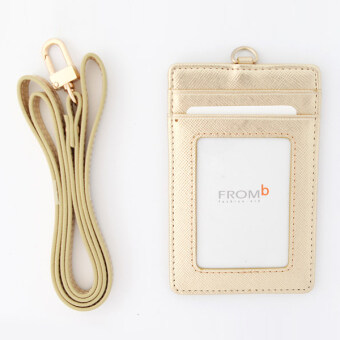 Korea FROMb bus lanyard card sets cute leather documents card setswork card access badges transparent card holder (Gold [spot])