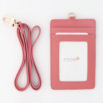 Korea FROMb bus lanyard card sets cute leather documents card setswork card access badges transparent card holder (Pink [spot])
