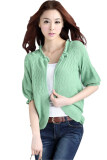 Korean Short Sleeve Knitted Wrap Around Cardigan Green