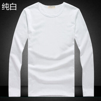 Korean-style cotton solid color men's T-shirt bottoming shirt (Long-sleeved--pure white) (Long-sleeved--pure white)