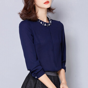 Korean-style female long-sleeved Spring and Autumn New stylebottoming shirt chiffon shirt (Dark blue color)