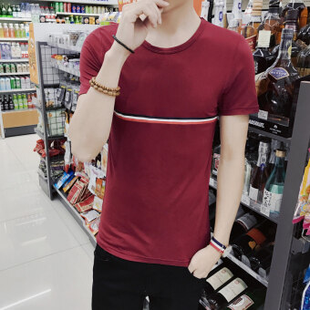 Korean-style men's short-sleeved summer New style T-shirt Top (In the middle of a-burgundy) (In the middle of a-burgundy)