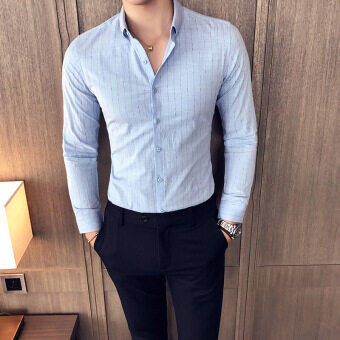 Korean-style Slim fit thin business striped shirt long-sleeved shirt (Sky blue color)