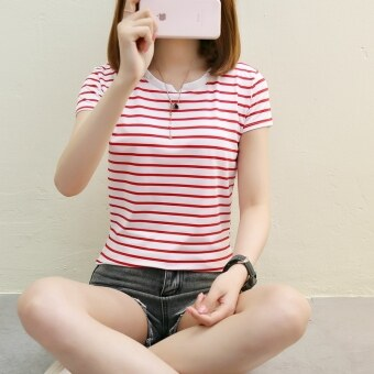 Korean-style Striped short sleeved women's T-shirt LOOESN Top (Red striped)