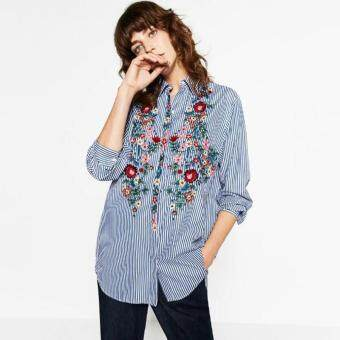 LALANG Embroidery Striped Blouse Shirt Long Sleeve Women TopsBlusas (Blue)