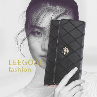 leegoal New Style Women Lady Leather Clutch Wallet Long PU Card Holder Purse Long Wallet(Black)